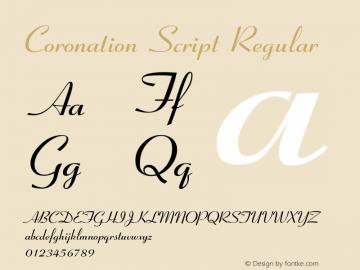Coronation Script Regular Rev 003.0 Font Sample