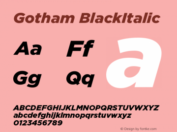 Gotham BlackItalic Version 1.100图片样张