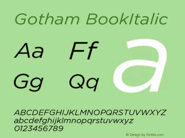 Gotham BookItalic Version 1.100图片样张