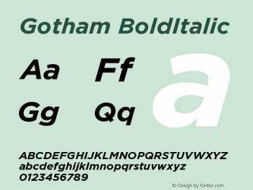 Gotham BoldItalic Version 1.100图片样张