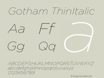 Gotham ThinItalic Version 1.100图片样张