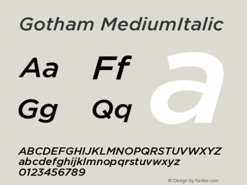 Gotham MediumItalic Version 1.100图片样张