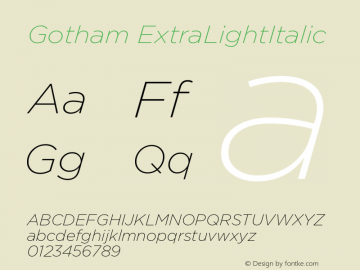 Gotham ExtraLightItalic Version 1.100图片样张