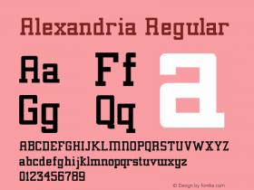 Alexandria Regular Unknown Font Sample