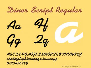 Diner Script Regular Rev 003.0 Font Sample