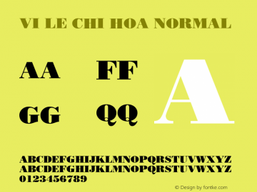 VI Le Chi Hoa Normal 1.0 Wed Mar 16 15:08:16 1994 Font Sample