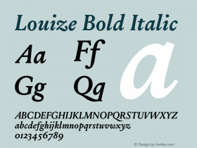 Louize Bold Italic Version 1.000 Font Sample