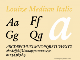 Louize Medium Italic Version 1.000 Font Sample