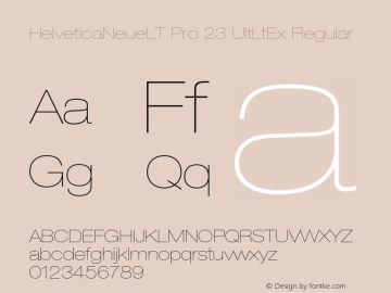 HelveticaNeueLT Pro 23 UltLtEx Regular Version 1.000;PS 001.000;Core 1.0.38 Font Sample