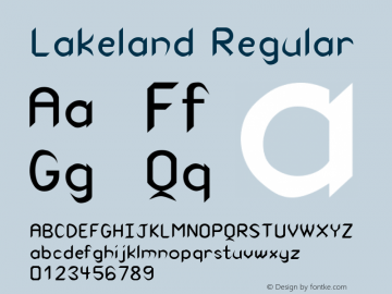Lakeland Regular Unknown Font Sample