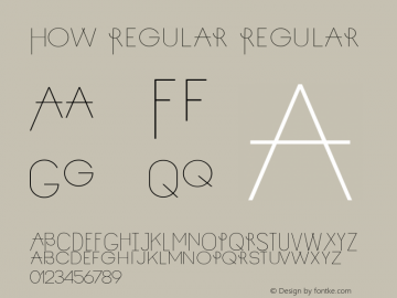 How Regular Regular Version 0.1 Font Sample