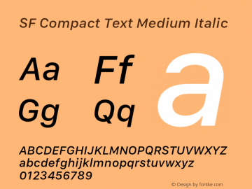 SF Compact Text Medium Italic 11.0d1e1 Font Sample