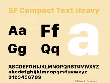 SF Compact Text Heavy 11.0d1e1 Font Sample