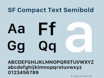 SF Compact Text Semibold 11.0d1e1 Font Sample