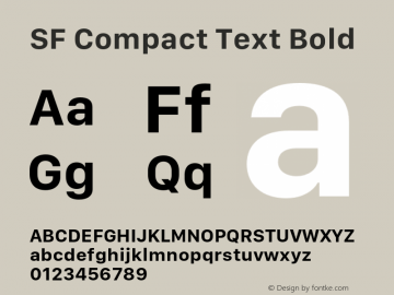SF Compact Text Bold 11.0d1e1 Font Sample