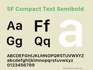 SF Compact Text Semibold 11.0d10e2 Font Sample