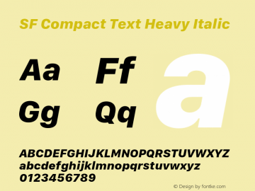 SF Compact Text Heavy Italic 11.0d10e2 Font Sample