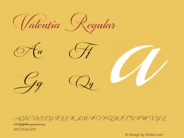 Valentia Regular Version 1.000 Font Sample