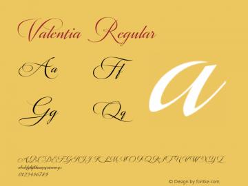 Valentia Regular Version 1.000 Font Sample