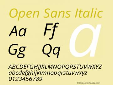 Open Sans Italic Version 1.10 Font Sample