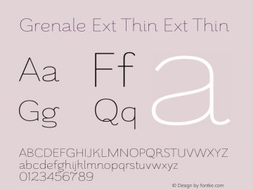 Grenale Ext Thin Ext Thin 1.000 Font Sample