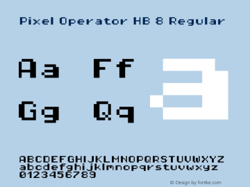 Pixel Operator HB 8 Regular Version 1.5.0 (October 25, 2015) Font Sample