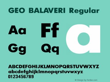 GEO BALAVERI Regular MS core font:V1.00 Font Sample