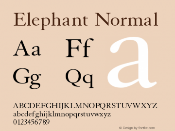 Elephant Normal Altsys Fontographer 4.1 1/31/95 Font Sample