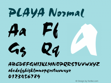 PLAYA Normal (C)1992 ATTITUDE, INC. All Rights Reserved Font Sample