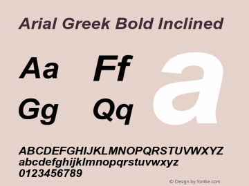 Arial Greek Bold Inclined Version 1.1 - January 1993 Font Sample