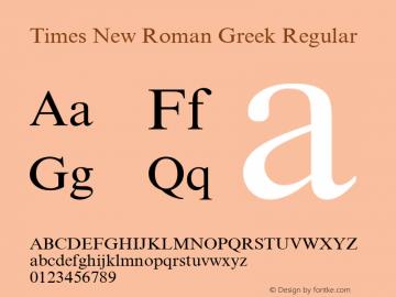 Times New Roman Greek Regular Version 1.1 - April 1993 Font Sample