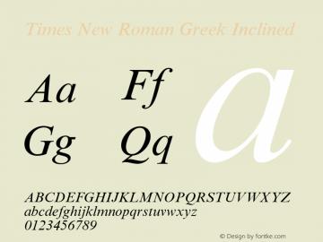Times New Roman Greek Inclined Version 1.1 - April 1993 Font Sample