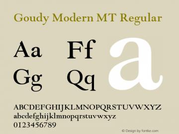 Goudy Modern MT Regular Version 1.00 Font Sample