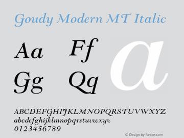 Goudy Modern MT Italic Version 1.00 Font Sample