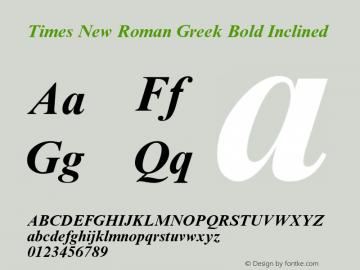 Times New Roman Greek Bold Inclined Version 1.1 - April 1993 Font Sample