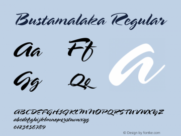 Bustamalaka Regular Macromedia Fontographer 4.1.5 8/12/01 Font Sample