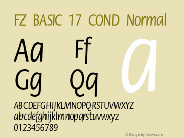 FZ BASIC 17 COND Normal 1.000 Font Sample