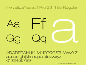 HelveticaNeueLT Pro 33 ThEx Regular Version 1.000;PS 001.000;Core 1.0.38 Font Sample