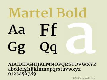 Martel Bold Version 1.002 Font Sample