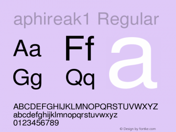aphireak1 Regular 1.01 2013 Font Sample