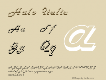 Halo Italic Altsys Fontographer 4.1 11/6/95 Font Sample