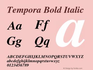 Tempora Bold Italic Version 1.0 Font Sample
