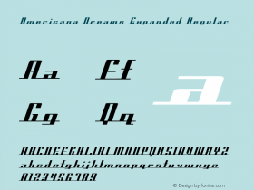 Americana Dreams Expanded Regular Macromedia Fontographer 4.1 3/9/99 Font Sample