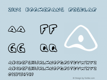 Zinc Boomerang Regular Frog: 3.9.99 1.0 Font Sample
