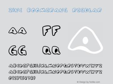 Zinc Boomerang Regular Frog: 3.9.99 1.0 Font Sample