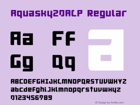 Aquasky20ALP Regular 001.000 Font Sample
