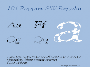 101 Puppies SW Regular v.1 Nov. 1996 Font Sample