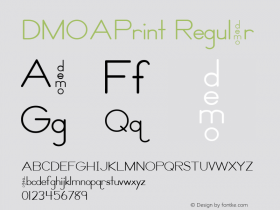 DMOAPrint Regular Macromedia Fontographer 4.1.3 1/21/00 Font Sample