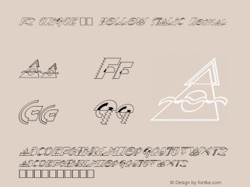 FZ UNIQUE 36 HOLLOW ITALIC Normal 1.000 Font Sample