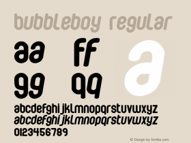 Bubbleboy Regular Macromedia Fontographer 4.1 10-03-00 Font Sample